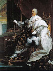 Portrait de Louis XVIII en habits de sacre, par François Gérard, XIXe siècle.