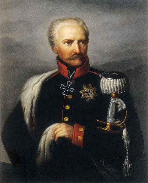Gebhard Leberecht Blücher, l'infatigable Commandant en Chef des Prussiens durant la campagne de 1813–1815.