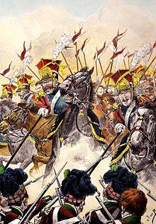 La charge des lanciers rouges de la Garde impériale à Waterloo (par Job).