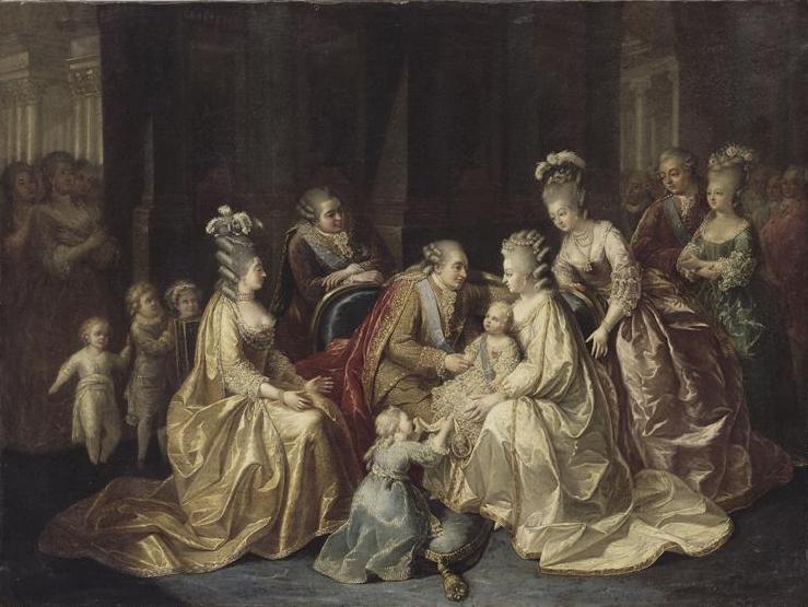 Louis, comte de Provence et son épouse Marie-Joséphine de Savoie, tous deux à droite.